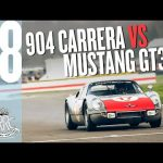 Screaming Porsche 904 v Growling V8 Mustang at Goodwood