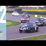 Awesome Four-way Ferrari/Aston/Jaguar/AC battle for the lead at Goodwood