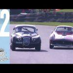 Constant side-by-side Ferrari 250 v Jaguar XK150 track battle at Goodwood